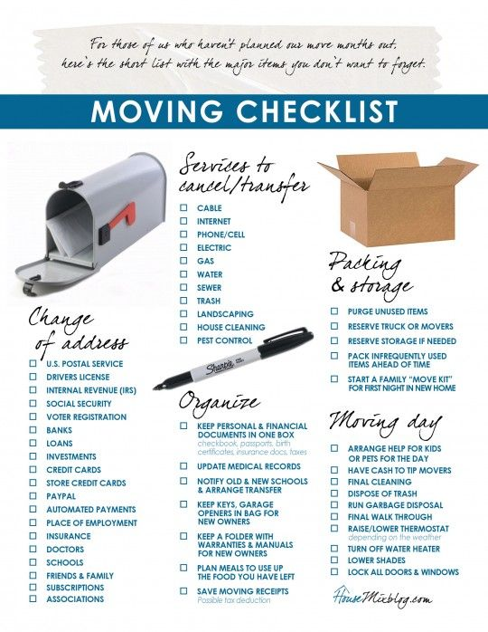 Moving part 2 Change of address services to stop organizing checklist  Moving check lists