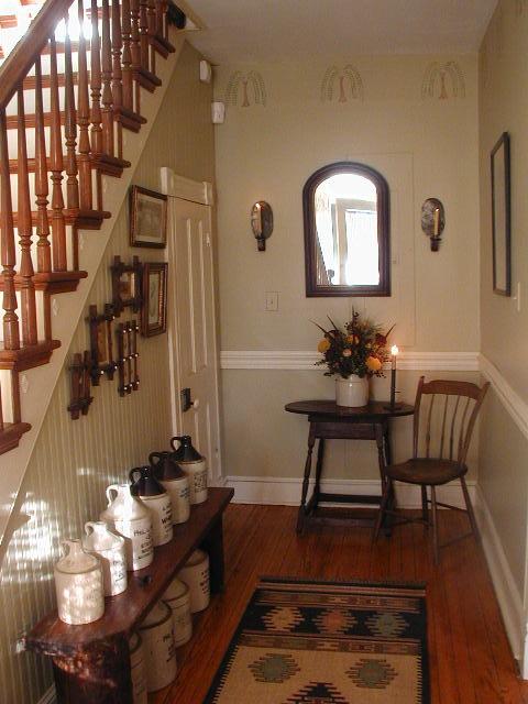 Beautiful Farmhouse FoyerStaircase  entrywaystairs