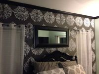 Charcoal grey accent wall with damask stencil | Master ...