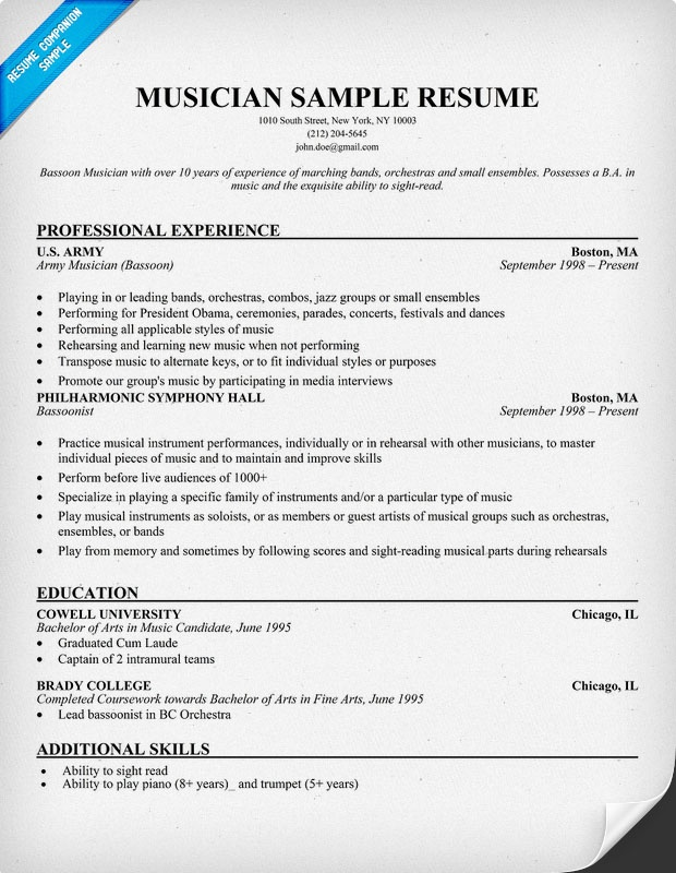 Music Resume Example - Examples of Resumes