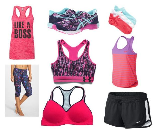 Work out by nadine708 on Polyvore featuring Zella, Under Armour, NIKE, Victoria's Secret and Asics