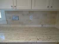 backsplash....limestone subway tile! Would nice with a ...