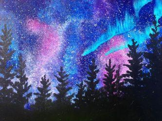 acrylic beginner landscape sherpa borealis acrylics painting tutorials easy paint aurora paintings sky night northern lights beginners lessons tutorial aura
