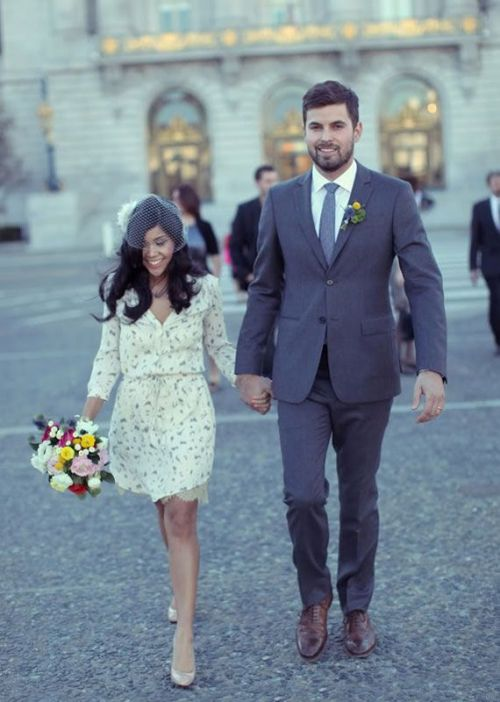 The intimacy of a city hall wedding is beautiful. And the clothes are lovely and humble.