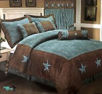 Western Embroidered Texas Star Comforter Bedspread 7 Piece ...