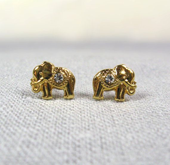 Gold Elephant Earrings Studs, Good Luck Elephant Earrings
