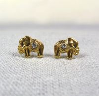 Gold Elephant Earrings Studs, Good Luck Elephant Earrings