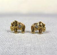 Gold Elephant Earrings Studs, Good Luck Elephant Earrings ...