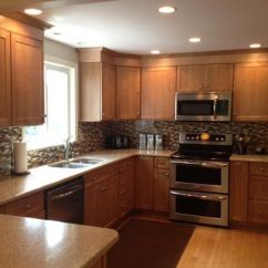 Cherry Wood Kitchen Cabinets Photos Island Legs Schrock Pleasant Hill In Maple Sahara | Mom's ...