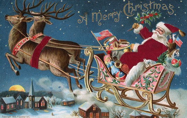 Cute Wallpapers Of The Word Slay Moonlight Amp Roses Santa Riding In His Sleigh Wall Board