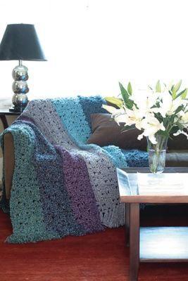 Lacy Stripes Crochet Afghan