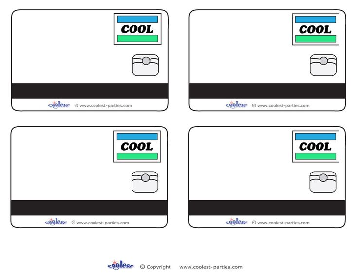 Blank printable cool credit card thank you cards for a