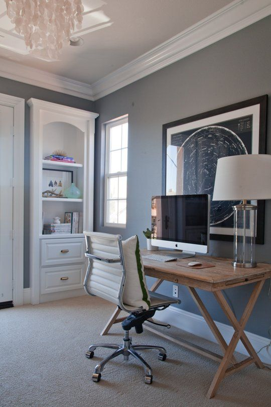swivel chair west elm medical high shea's stylish happy home office | pewter, paint colors and grey walls