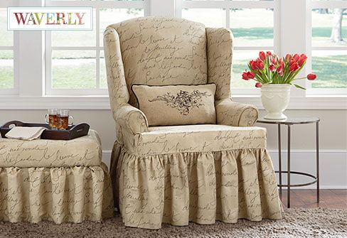 Pen Pal by Waverly Wing Chair Slipcover  a playfully