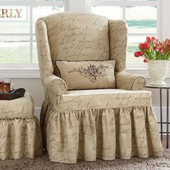 Sure Fit Soft Suede Sofa Slipcover Brown Leather For Sale Bristol Pen Pal By Waverly™ Wing Chair - A Playfully ...