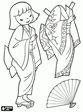 Japanese doll to play dress up with kimono coloring page