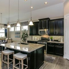 Farmhouse Kitchen Cabinets For Sale Cafe Wall Decor Gehan Homes - Black Cabinets, Light Granite ...