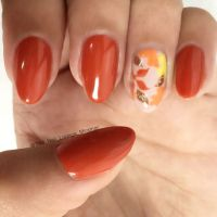 Autumn fall leaves nail art design