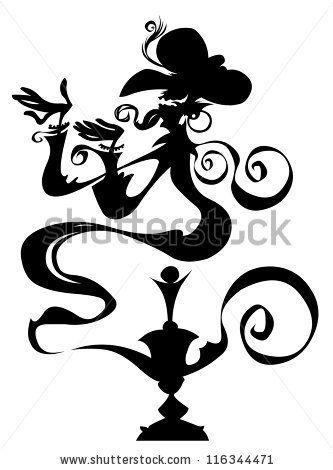 Genie in a lamp. Silhouette drawing. by Bobb Klissourski