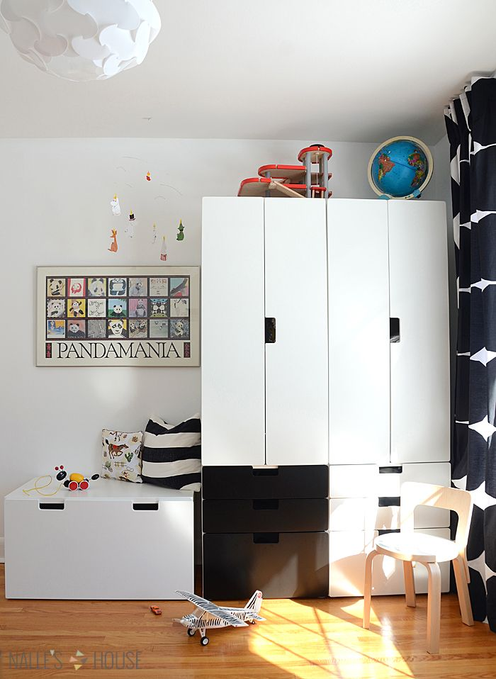 Ikea Stuva Storage solution in a black and white shared kids room  C ideas  Pinterest