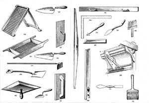 Drawing of plasterer's tools. Link to NationL Park Service
