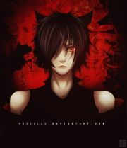 anime guy with black hair and red
