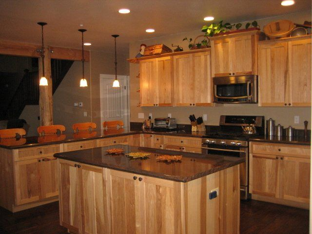 granite countertops with natural maple cabinets  Google