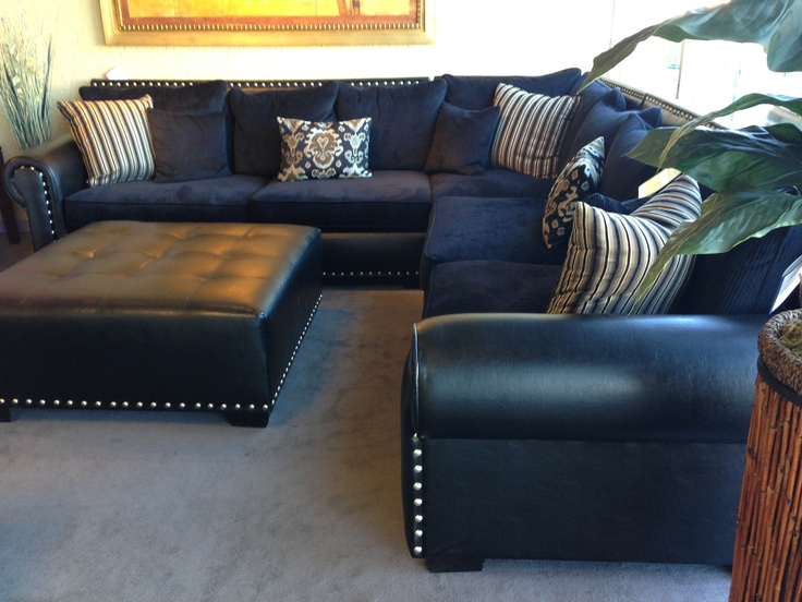navy microfiber sofa chaise sectional slipcover sectional.... leather/cloth mix??? ehhh | living room ...