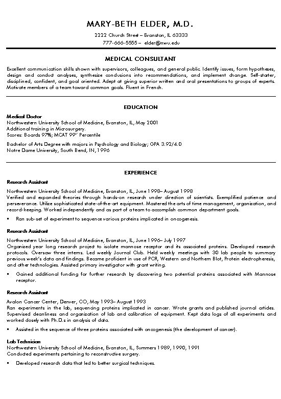 physician consultant resume