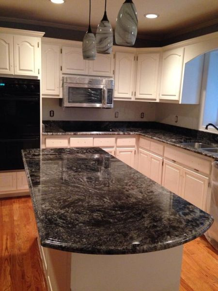 white kitchen with grey granite dark grey black white swirl granite countertops - Google