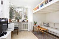 Small Swedish studio apartment elegantly combines loft bed ...