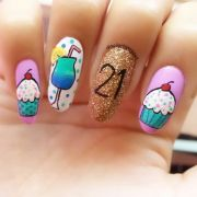 happy 21st birthday nail art