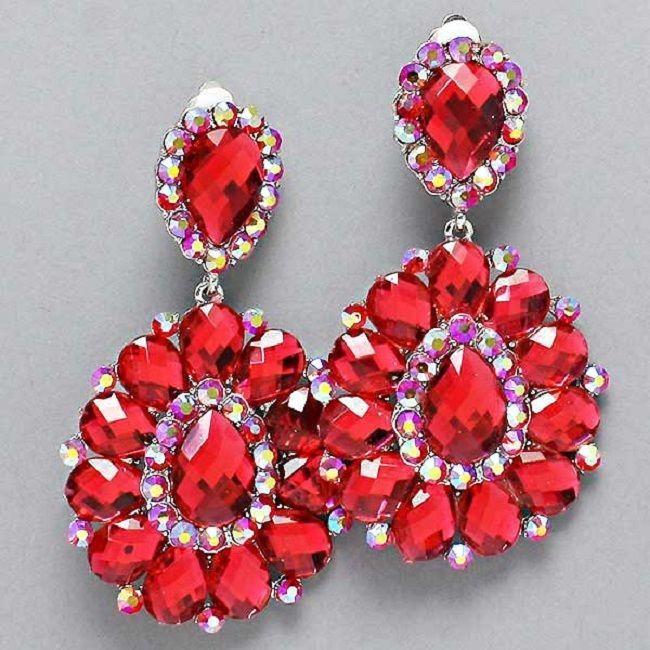 Red AB Crystal Chandelier Rhinestone Clipon Bridal Drag