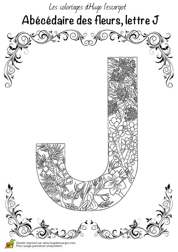 Coloriage Abecedaire Belles Fleurs, Lettre J (beautiful