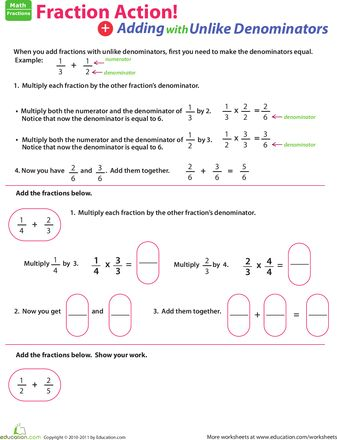 Fractions Adding Fractions And Worksheets