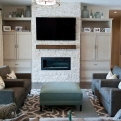 Light Brown Sofa Living Room Ideas Desk This Chic Contemporary Family Features A Media Wall ...