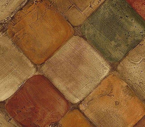 cute kitchen rugs island sink wallpaper faux tumbled tuscan tiles tan, rust & green ...