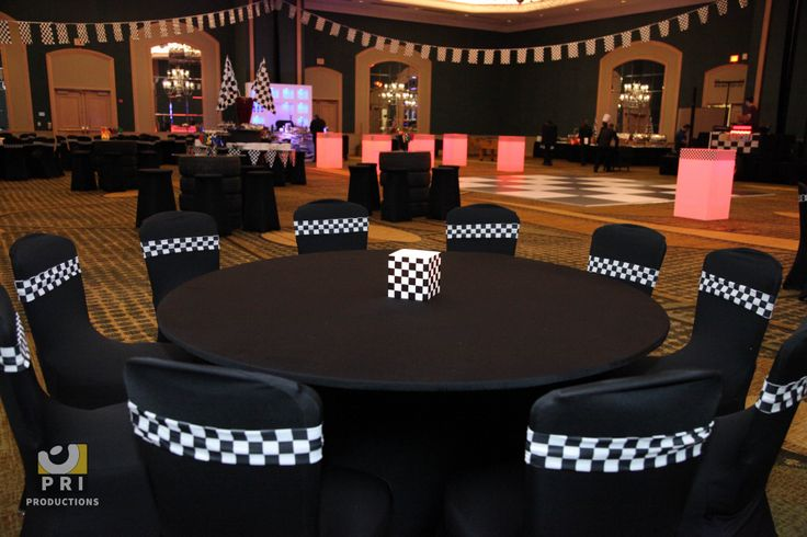Racing themed decor Black spandex chair covers and