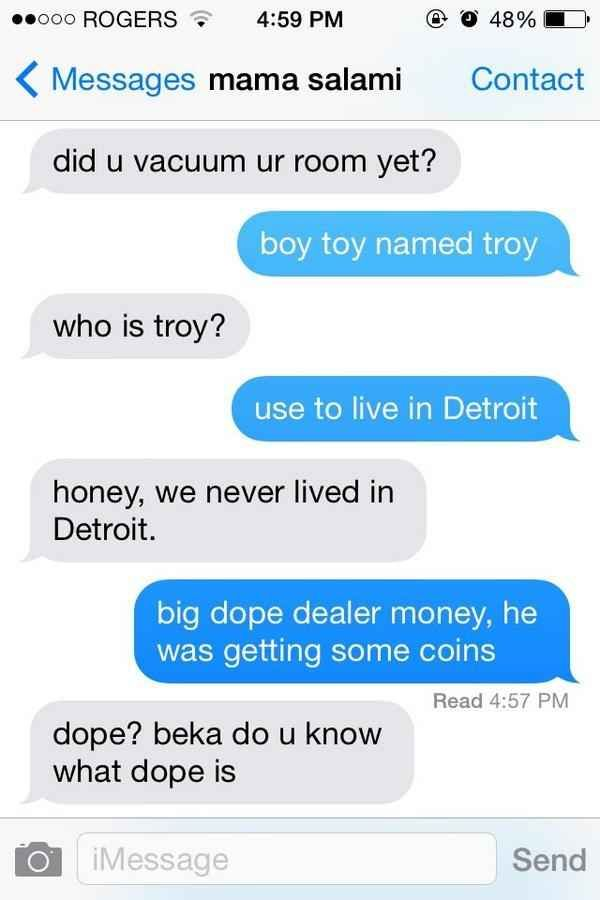 What Happens If You Text Your Mom Using Only The Lyrics To