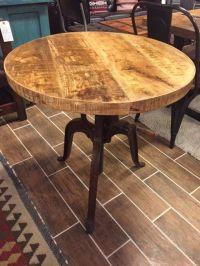 Distressed Industrial crank bistro table with adjustable ...