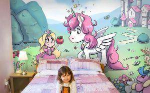 unicorn princess mural pink murals rooms unicorns wall bedroom nursery chambre