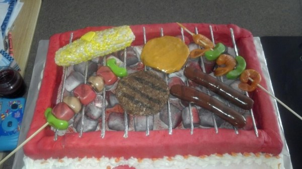 BBQ Grill Birthday Cake Foods made out of Starburst and