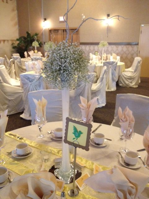 Table Centerpiece  Babys Breath in an Eiffel Tower Vase