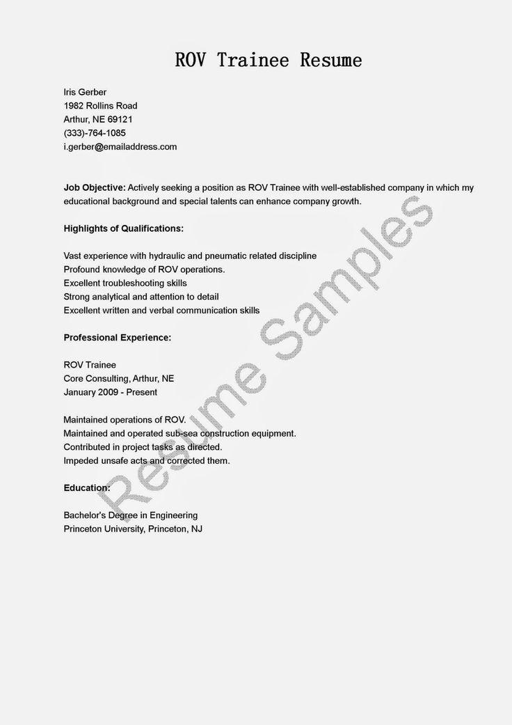 ROV Trainee Resume Sample Resume Samples  resame  Pinterest  Sample html and Resume