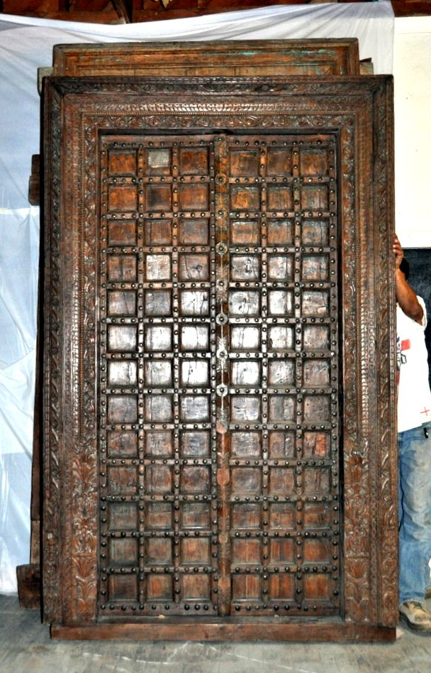 Antique Indian Door with Carving for Sale  Antique Carved