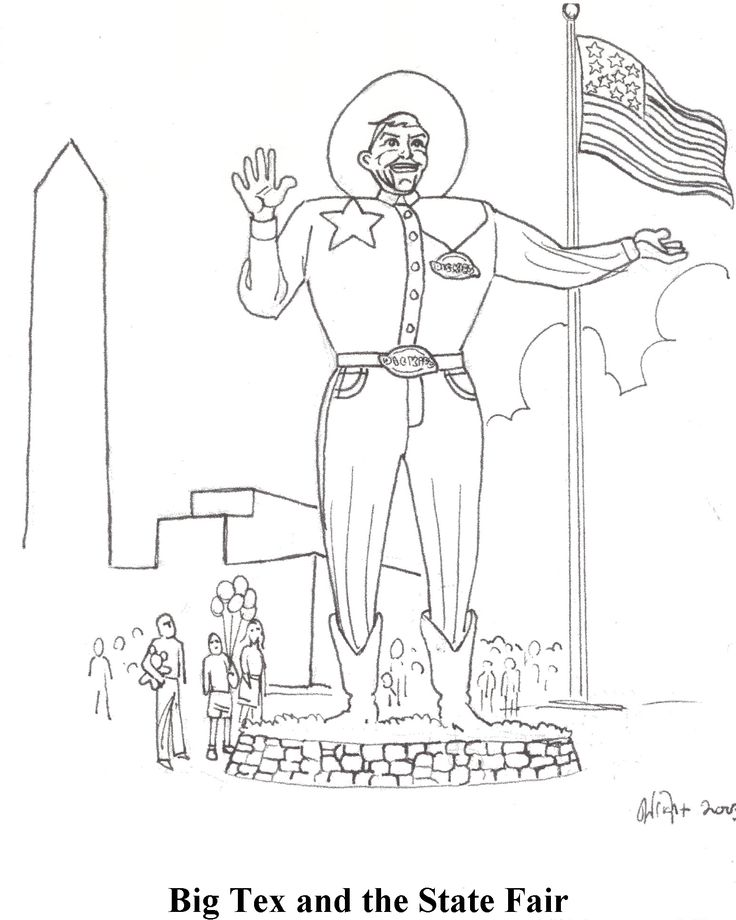 Big Tex Texas State Fair Coloring Page Coloring Pages