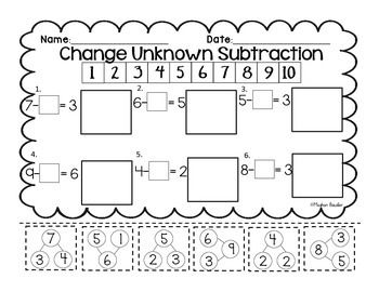 Change Unknown Subtraction- Cut & Paste- Engage New York