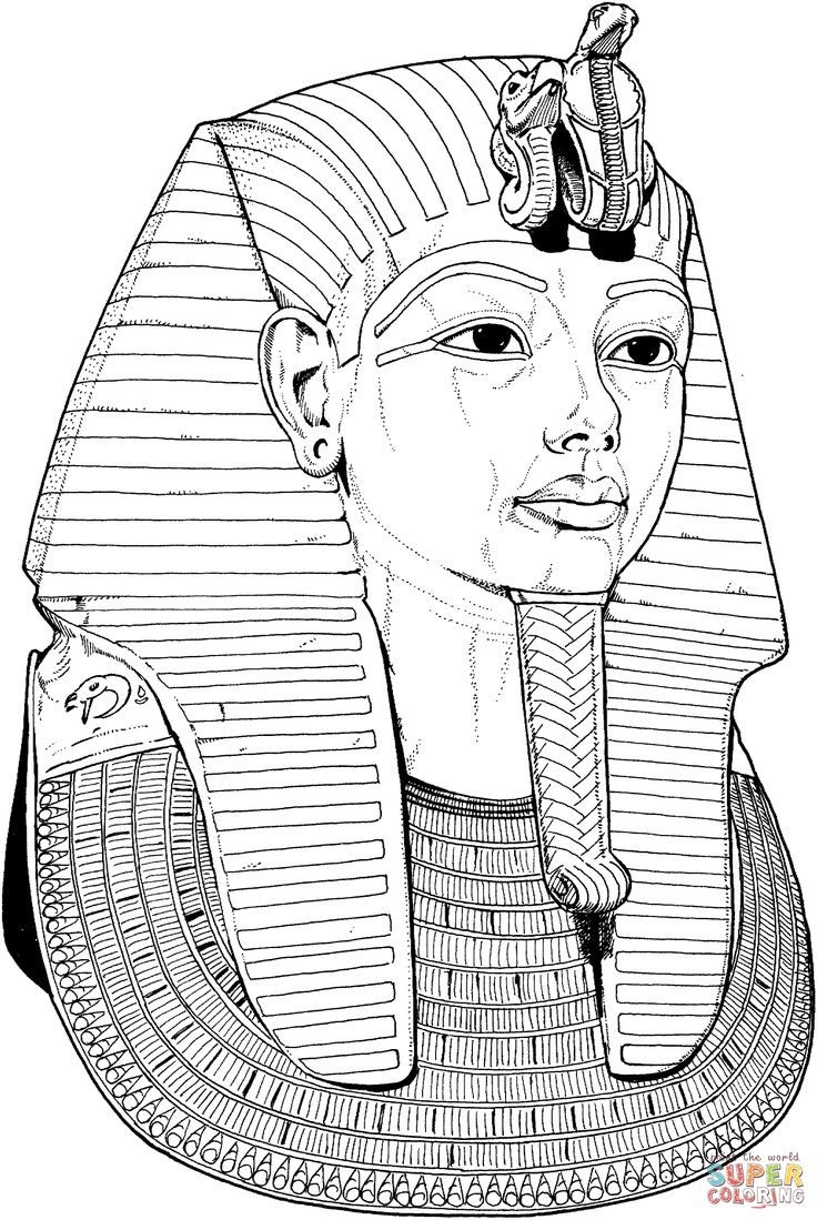 Egyptian Coloring Pages Tutankhamun Death Mask Coloring