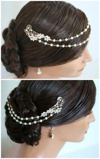 Pearl Chain Headpiece Rose Gold Bridal Head Piece Pearl ...