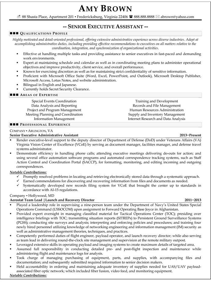Senior Executive Assistant Resume Sample  Resume